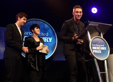 Jamie Smith, Romy Madley Croft and Oliver Sim of The XX accepting their award last night.