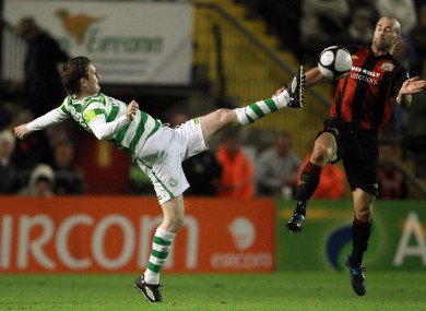 Gary Twigg of Rovers with Paul Keegan of Bohs in last night's derby