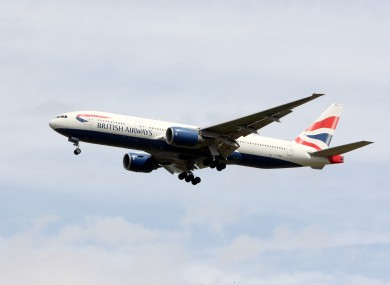 A British Airways Boeing 777, similar to the one which was forced to make an emergency landing at Shannon shortly after midnight.