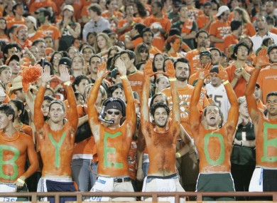 Univeristy of Miami students say good-bye to the old Orange Bowl Stadium in 2007.