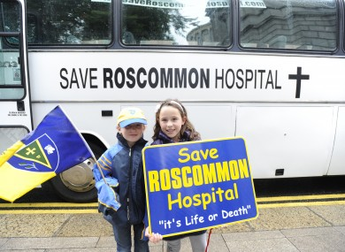 [File photo] Emma Cuddy and Shenna Kilroy from Roscommon protesting against Governments plans to close Roscommon Emergency Department outside the Irish Dail