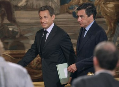 French president Nicolas Sarkozy with French Prime Minister Francois Fillon