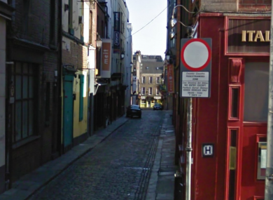 Temple Lane in Dublin 2, where a man sustained serious injuries following an assault yesterday morning.