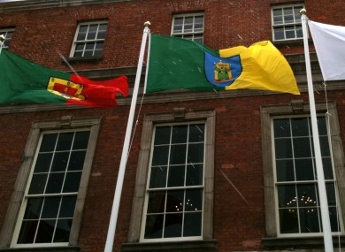 The flagpoles at Dublin Castle are intended to fly the flags of EU members - meaning there aren't enough to fly the flag of every county.
