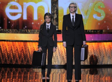 The pairing of Jane Lynch and Paula Abdul in little 'n' large suits also struck a good note at last ngiht's Emmys