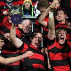 Kilkenny's Shane Delahunt lifts the cup after their win over Castleknock College in the Leinster Schools Senior League Final at Donnybrook.
