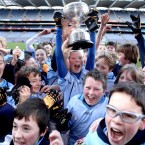 Johnstown's BNS captain Dylan Rowe lifts the trophy at the Allianz Cumann na mBunscoil Finals in Croke Park on Wednesday.