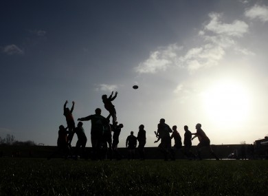 The Munster pack practice their lineouts during Tuesday's training session.