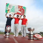 Munster players Tommy O'Donnell, Conor Murray and Mike Sherry with the Munster Senior Schools Cup at the University Limerick.