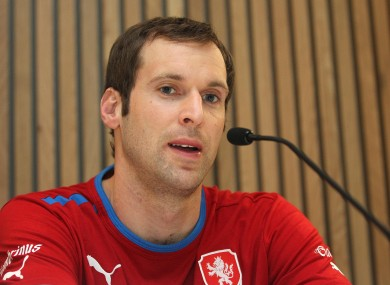 Petr Cech faces the press in Dublin yesterday.