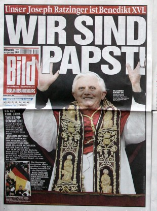 The front page on the day after Joseph Ratzinger became Pope was one of the few occasions on which Bild dropped its front-page topless girls.