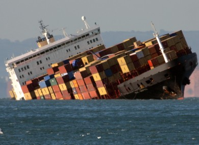 The MSC Napoli after running aground a mile off the coast of England