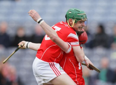 Loughgiel Shamrocks' Liam Watson and Brendan McCarry celebrate.