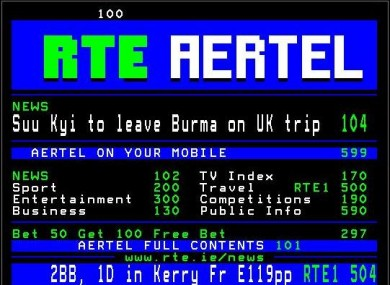 RTÉ's Aertel service today