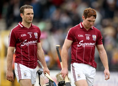 The old guard and the new: David Collins and Niall Donoghue after the defeat against Kilkenny.
