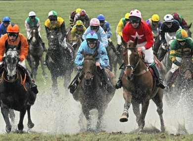 A general view of the runners and riders in the Avon Ri Corporate and Leisure Resort Chase for the La Touche Cup yesterday.