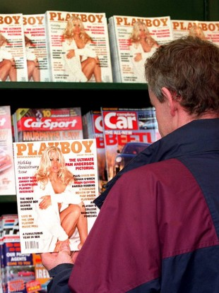 A Dublin man checks out the newly-uncensored Playboy magazine in 1995