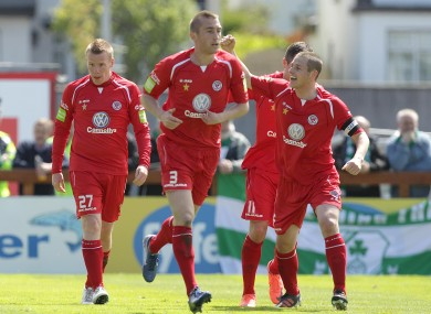 Sligo celebrate their opener.