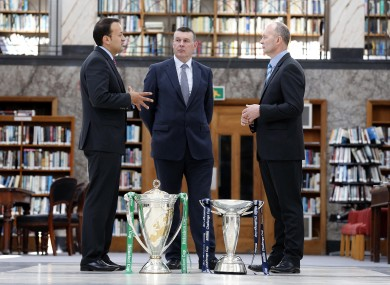 ictured at today's press conference were (L-R) Leo Varadkar, Minister for Transport, Tourism and Sport, IRFU chief executive Philip Browne and Derek McGrath ERC chief executive.