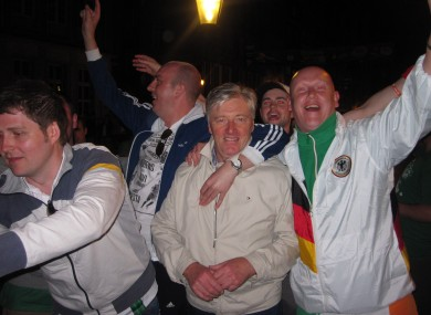 Top man: Cian with his arm around Pat Kenny in Gdansk last night.