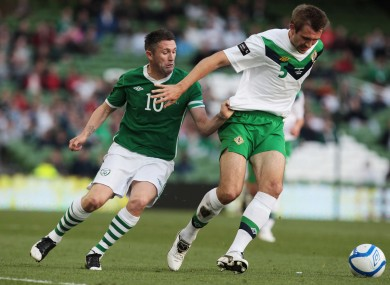 Republic of Ireland's Robbie Keane and Gareth McAuley of Northern Ireland, Carling Nations Cup, 24 May 2011
