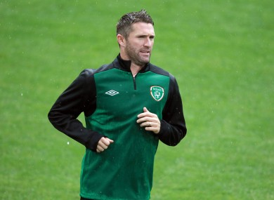 Keane training yesterday.