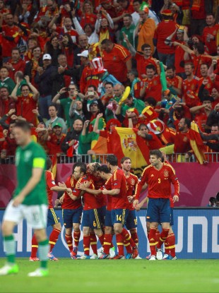 Spain's Fernando Toress celebrates scoring.