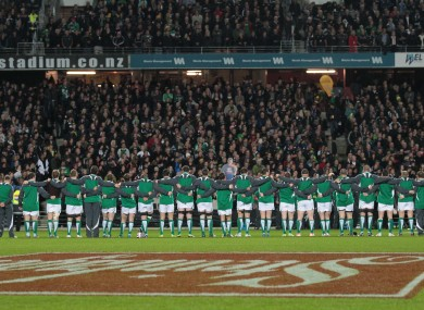 Ireland rugby team lines up for the anthems in Hamilton.