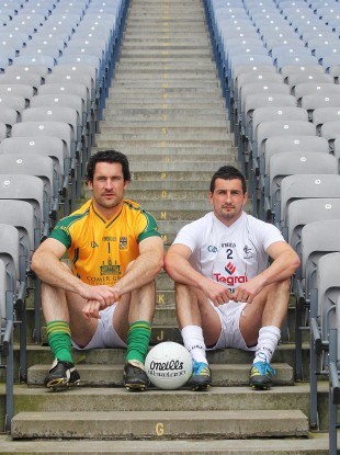 Meath's David Gallagher and Aindriu Mac Lochlainn of Kildare.