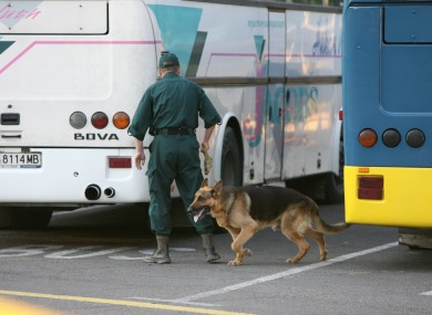 A Bulgarian policeman with a sniffer dog checks for explosives by parked buses at Burgas airport