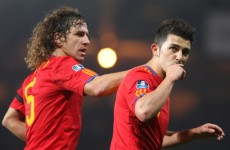 Puyol and Villa fly in to support Spanish team-mates in Kiev
