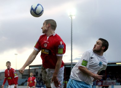 Glenn Cronin, left, and Tiernan Mulvenna compete during the last meeting between Shelbourne and Drogheda United.