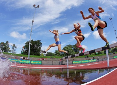General view of the Women's 300m Steeplechase at Santry yesterday.