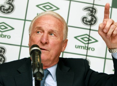 Giovanni Trapattoni, pictured at yesterday's press conference.