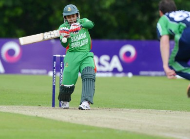 Bangladesh's Mushfiqur Rahim hits one off Alex Cusack of Ireland.