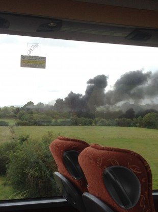 Smoke rises from the scene of the fire outside Waterford City.