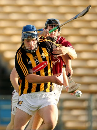 Galway's Brian Flaherty and Ger Aylward of Kilkenny