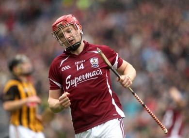 Galway's Joe Canning celebrates a score in the Leinster final.