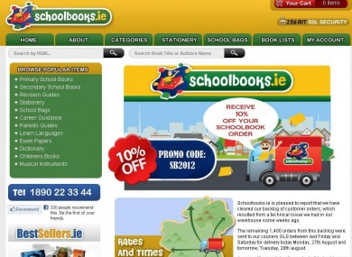 Screengrab of the Schoolbooks.ie website