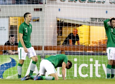 Ireland's Shane Duffy, John Egan and Greg Cunningham dejected after Turkey's goal.