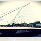 Spectators gathered on the Samuel Beckett Bridge to view the docked ships. Photo by @laurarosep