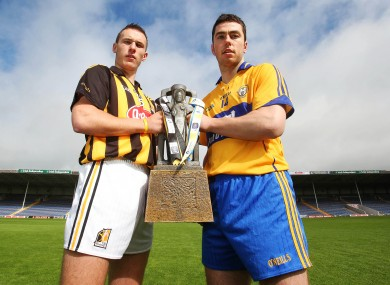 Cillian Buckley of Kilkenny with Conor McGrath of Clare at a photo call this week.