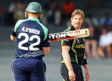 Australia's Shane Watson reacts after bowling to Kevin O'Brien of Ireland.