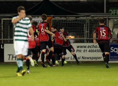 Kevin Devanney of Bohs celebrates the game's only goal against Shamrock Rovers on Monday night.