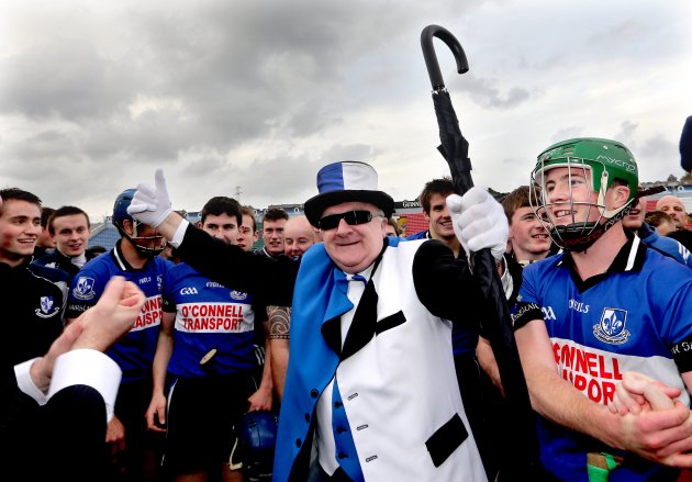 A colourful Sarsfields fan celebrates with the team after the game 7/10/2012