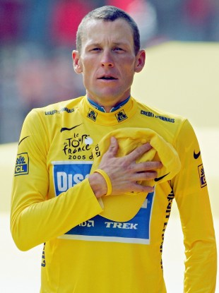 Armstrong on the Champs ELysee after winning his seventh Tour title.