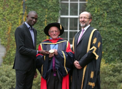 David Rudisha, Brother Colm O'Connell and President of DCU, Professor Brian MacCraith.