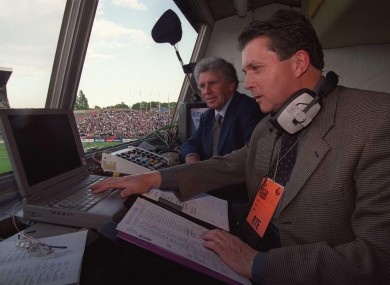 George Hamilton and Johnny Giles in the commentary booth.