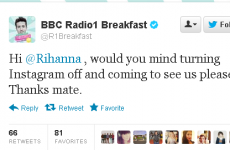 BBC Radio One presenter gives Rihanna guff on Twitter