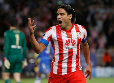 Falcao celebrates his third goal against Chelsea in the Super Cup final.